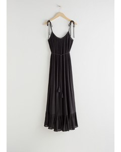 Dio Gathered Maxi-jurk Zwart