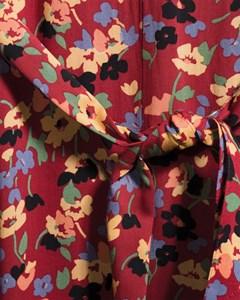 Dawn Bedrukte midi-jurk met ceintuur Rood