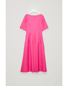 Waisted Short-sleeve Dress Vibrant Pink