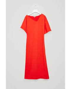 V-neck Dress With Twisted Seam Vibrant Red