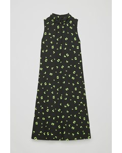 Frill-neck A-line Printed Dress Black