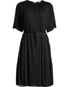 Gathered Tie Waist Dress Black