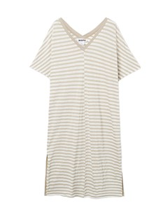 Drop Dress Beige Stripe