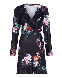 Floral Frill Wrap Front Dress Black