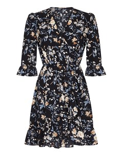 Daisy Blossom Ruffle Wrap Front Dress Black