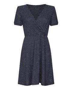 Polka Dot Wrap Front Knitted Skater Dress Navy