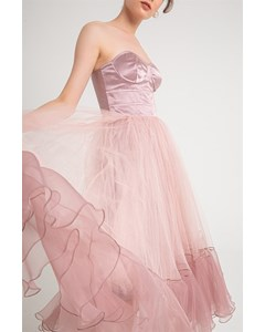Bra Cup Dress With Strapless Organza Detail