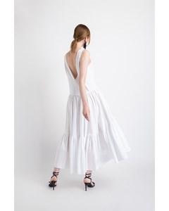 Gathered Poplin Dress With V Shoulder Decollete