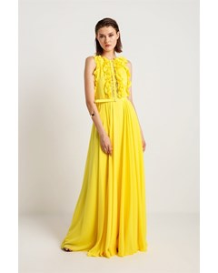 Lace And Flounce Front Evening Dress
