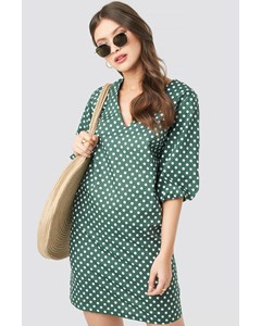 V-neck Short Puff Sleeves Dress Dot Print