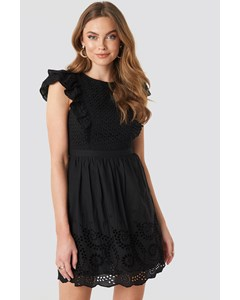 Puff Mini Anglaise Dress Black