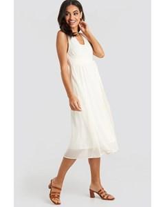 Belted Chiffon Midi Dress White