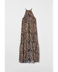 Långklänning Med Volang Beige/zebramönstrad