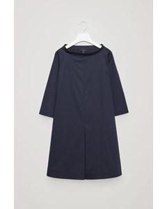 Stand-up Collar Cotton Dress Navy