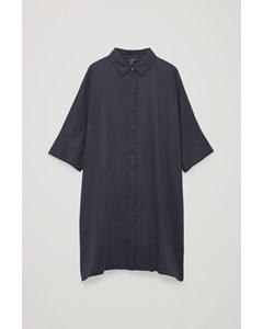 Draped Boxy Shirt Dress Midnight Blue