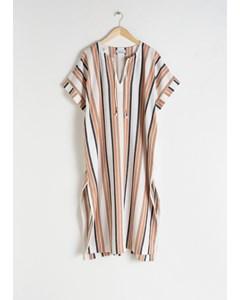Linen Blend Striped Kaftan White