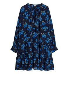 Ruffled Crêpe Dress Dark Blue/ Floral