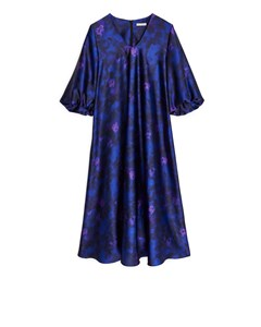 Satin Balloon-sleeve Dress Dark Blue/floral