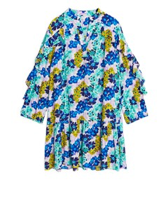 Flouncy Floral Ruffled Dress Blue/floral