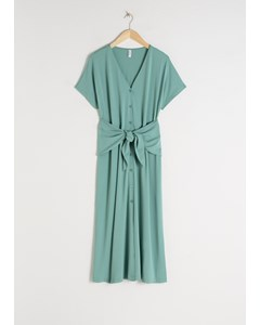 Waist Tie Midi Dress Mint
