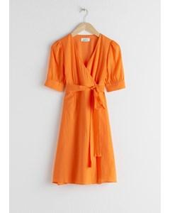 Cotton Blend Wrap Mini Dress Orange