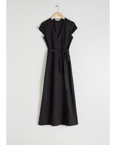 Linen Midi Wrap Dress Black