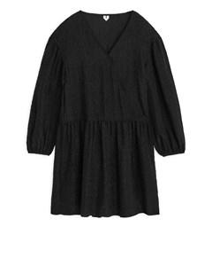 Textured Silk Jacquard Dress Black