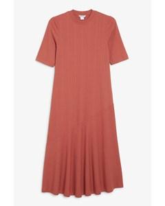 Short Sleeve Midi Dress Rusty Red