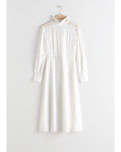 Turtleneck Jacquard Dress White