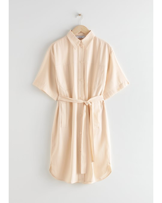 & Other Stories Oversized Midi Shirt Dress Beige