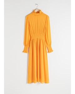 High Neck Ruched Midi Dress Yellow