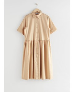 Voluminous Midi Shirt Dress Beige