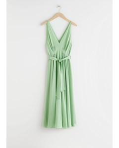 Belted Silk Midi Dress Green
