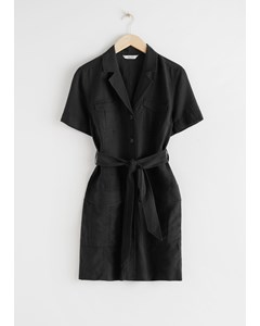 Belted Workwear Mini Dress Black