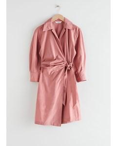 Voluminous Sleeve Wrap Mini Dress Rose