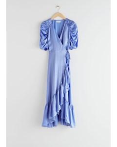 Puff Sleeve Wrap Midi Dress Blue