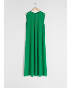 Sleeveless Silk Midi Dress Green