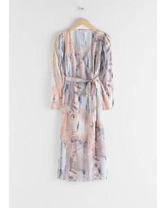 Puff Sleeve Midi Wrap Dress Blue