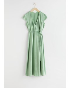 Satin Midi Wrap Dress Pistachio