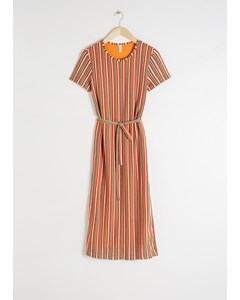 Belted Striped T-shirt Dress Stripe