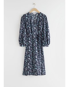 Puff Sleeve Wrap Midi Dress Blue Florals