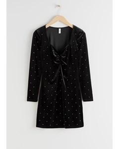 Rhinestone Studded Velvet Mini Dress Black