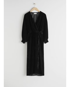 Velvet Side Slit Midi Dress Black