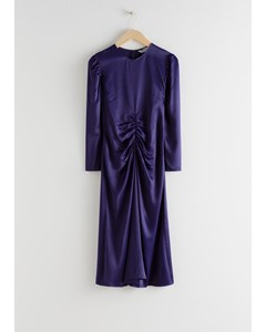 Ruched Satin Midi Dress Purple