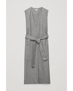 Sleeveless Wrap Dress With Belt Light Grey