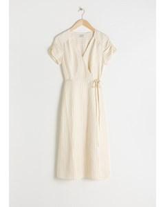 Striped Linen Blend Wrap Dress Stripe