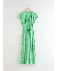 Floral Midi Wrap Dress Green Floral