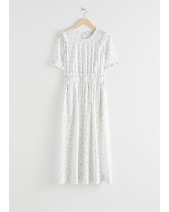 & Other Stories Lyocell Blend Ruffle Maxi Dress White Florals