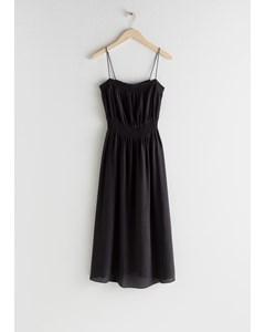 Smocked Silk Midi Dress Black