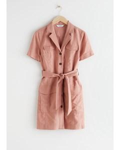 Belted Workwear Mini Dress Pink